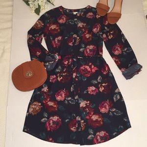 Merona / Rose Print Shirt Dress / Button Front